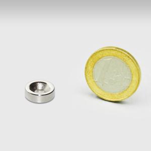 Ringmagneet 12x4mm met boor/verzinkgat (noord pool)